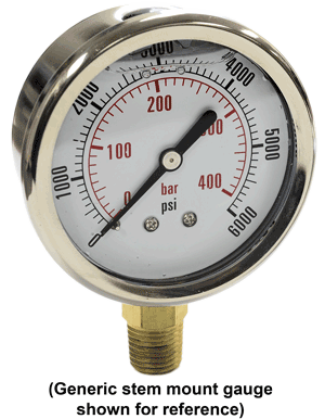 "AFS-CF-1C-002-A Compound Gauge, 30""HG to 30 PSI, Stem"